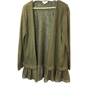 Umgee Slub Knit Olive Green Brown Ruffle Trim Open Cardigan Sweater Women Medium
