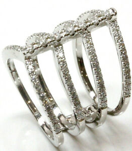 0.8 ctw Natural Diamond 14k White Gold Wide 4 Line Finger Wrap Statement Ring