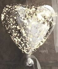 Large LED Silver Mercury Hanging Glass Heart Balloon