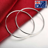 925 Sterling Silver Filled Classic 5cm Round Plain Hoop Huggie Earrings Stunning