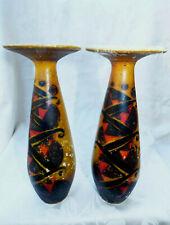 Paire de Vase Art Déco Verre Peint signés Loti Nancy