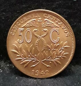 1942 Bolivia 50 centavos, RB UNC, local re-strike, KM-182a.2 (BO6)          /N59