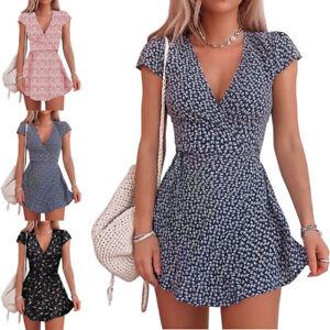 Women Floral Ruffle Mini Summer Dress Ladies Vacation Sundress Wrap Dress Shirts
