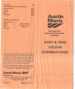 Austin Morris Body & Trim Colours Mini Metro Allegro Ital Princess Maxi 440/575