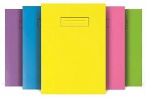 Silvine A4 Exercise Books, Laminated, Bright Colours, Ruled Home School Notebook