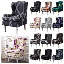 2pc Wing Chair Slipcover Stretch Printed Wingback Cover Home Armchair Sofa Cover