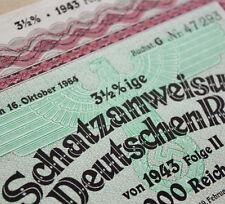 1000 RM Nazi War Bond Cert WWII + Swastika (Rare Unredeemed Issue CV: $299.95)