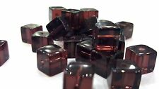 50 pieces 8mm Crystal Glass Square / Cube Beads - Dark Amethyst - A3089