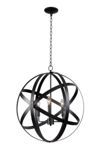 "Kenroy Home Global Three Light Pendant - Black Finish (93553BLK) - 26.5"" x 24"""