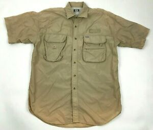 G.P.S. Global Tracking Button Up Fishing Shirt Mens Size L Two Toned Tan Pockets
