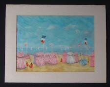 Aquarelle bord de mer normandie voiliers Raoul DUFY Old painting sea 72x56cm