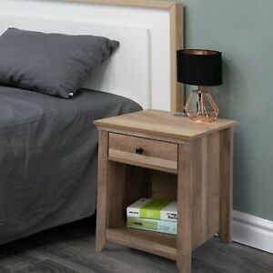 Farmhouse Nightstand Bedside Table with Drawer Shelf USB Charging Station Wood