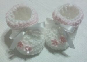 Crochet Baby Booties Set Only Baby Pink and White Baby Girls