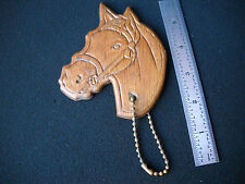 Large Vintage Hand Crafted Real Wood Horse Head Key Chain Lovers, Free Ship!