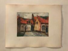 1900's Hand Colour & Signed Etching By Dutch Artist Van Doorn