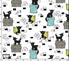 By 1/2 Yd Michael Miller Cotton Fabric ~ Ike & Oona ~ Oona ~ Scruffy Black Cat