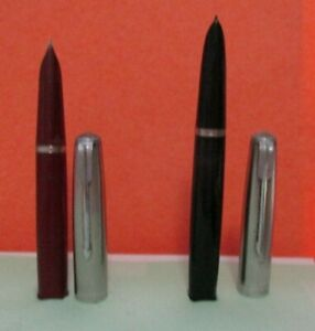 2 VINTAGE FOUNTAIN PENS by PARKER  WITH SMALL SILVER COLOR NIBS MAROON & BLACK