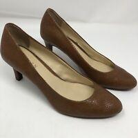 Ralph Lauren HARPER Leather Pumps Heels Shoes Size 9B BROWN SNAKESKIN PRINT