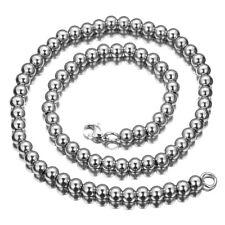 "steel Silver Rosary Beads Necklace Chain 24"" 8mm Fashion Men Boys 316L Stainless"