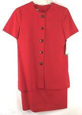 Jessica Howard Womens 10 Red Dress Short Sleeve Sheath Rayon Blend Knee Length
