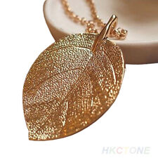 """Long Shimmering Gold Tone Thick Leaf Pendant Necklace /24"""" Chain/ U.S Seller!"""