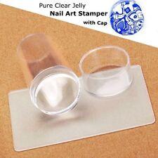 Nail Art Clear Jelly Head Silicone Stamper Scraper Cap Transparent Stamping UK