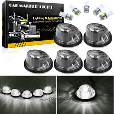 5x Round Cab Roof Marker Light Smoke Cover Lens + White LED for 69-87 Chevy GMC