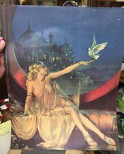 "Vtg Persian Egyptian LADY holding DOVE ART DECO PRINT~SULTANA~ 20x16"" estate"