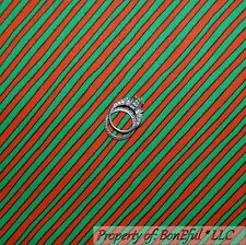 BonEful Fabric FQ Cotton Quilt Red Green Black Xmas Stripe Calico Candy Holiday
