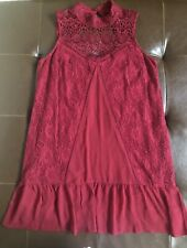 Abercrombie Finch Girls Size Small Boho Dress Burgundy Lace High Neck