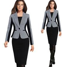 Winter Women Houndstooth Casual One Button Suit Blazer Coat Jacket Cardigan Tops
