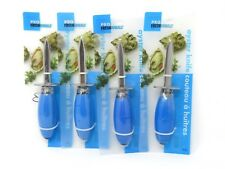 PROfreshionals Oyster Knife Stainless Steel Blade Blue Handle Lot of 4