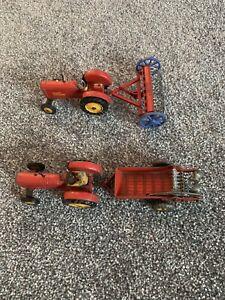 Dinky Toys Massey Harris Tractor X2 (300) , Hay Rake (324) Manure Spreader (321)