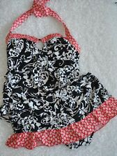 24th & Ocean Tankini Halter Top Swim Suit Skirt Black White Floral Size Small