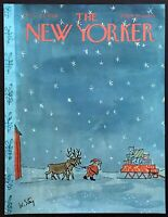 1966 Santa Reindeer Sleigh art by W. Steig Dec. 24 New Yorker Mag COVER ONLY