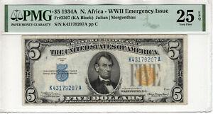 1934 A $5 SILVER CERTIFICATE NOTE NORTH AFRICA FR.2307 KA BLOCK PMG VF 25 EPQ