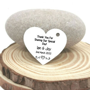 Mini Heart Tags for Wedding Favours/Gifts - Personalised! 6 Colour Options