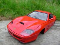 ANSON 1:18 RED DIECAST FERRARI 550 MARANELLO MODEL CAR FOR PARTS DIORAMA REPAIR