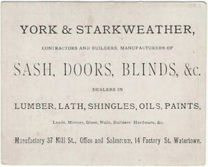 Watertown Massachusetts Sash Door Blinds Shingles Dealer Business Card
