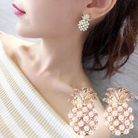 Charm Women Pineapple Shape Faux Pearl Inlaid Ear Studs Earrings Jewelry Gift Pr