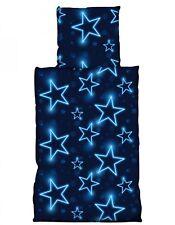 4 tlg Bettwäsche 135 x 200 cm Sterne blau neon Microfaser Garnituren