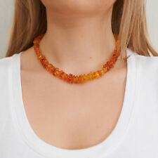 Genuine Natural Baltic Amber Necklace Bright Lemon Beads Choker Silver Clasp