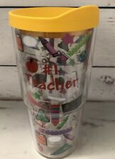 Tervis Tumbler #1 Teacher Cup With Yellow Plastic Lid 24 oz Clear