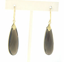 14K Gold Faceted Smokey Topaz Long Tear Drop Earrings with French Wire Backs