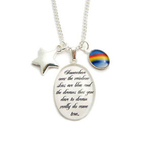 WIZARD OF OZ charm necklace Somewhere over the rainbow lyrics star toto dorothy