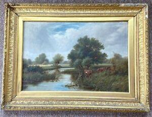 Robert Robin Fenson Oil On Canvas Cattle In A Landscape