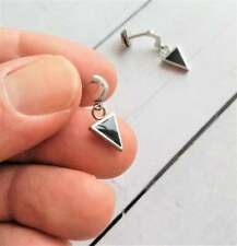 Hoop with Black Enamel Triangle Shape Earrings For Men's in 18K White Gold Over