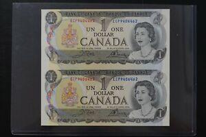 Canada 1973 $1 un-cut pair ch-UNC condition Crow Bouey Sign (d021)