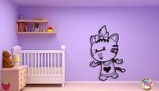 Wall Sticker Kitty Cat in Dress Cool Decor for Kids Nursery Room z1444