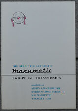MG Magnette, A50,Wolseley 15/50, Morris Oxford Manumatic transmission brochure